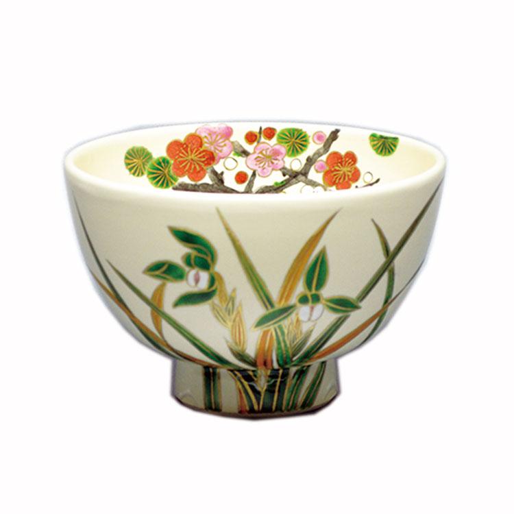 茶道具 抹茶茶碗(まっちゃちゃわん) 茶碗 白釉 蘭に梅 水出 宋絢 作