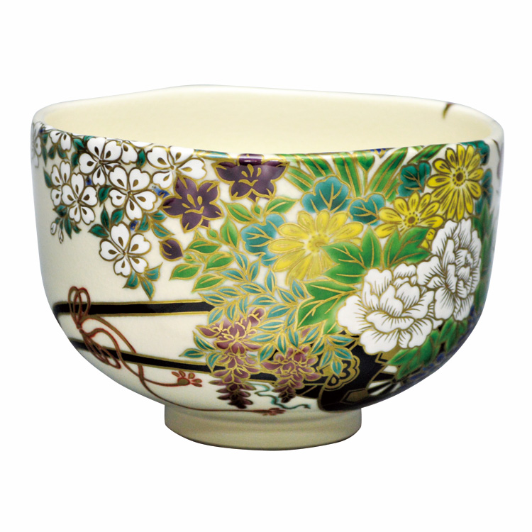 茶道具 抹茶茶碗(まっちゃちゃわん) 茶碗 色絵 花車 清閑寺窯