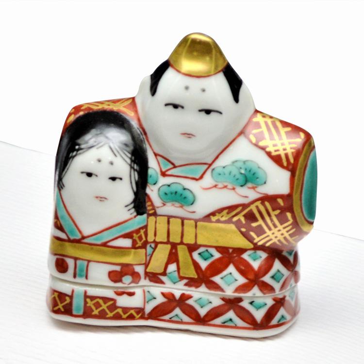 茶道具 香合(こうごう) 香合 色絵 立雛 高野 昭阿弥