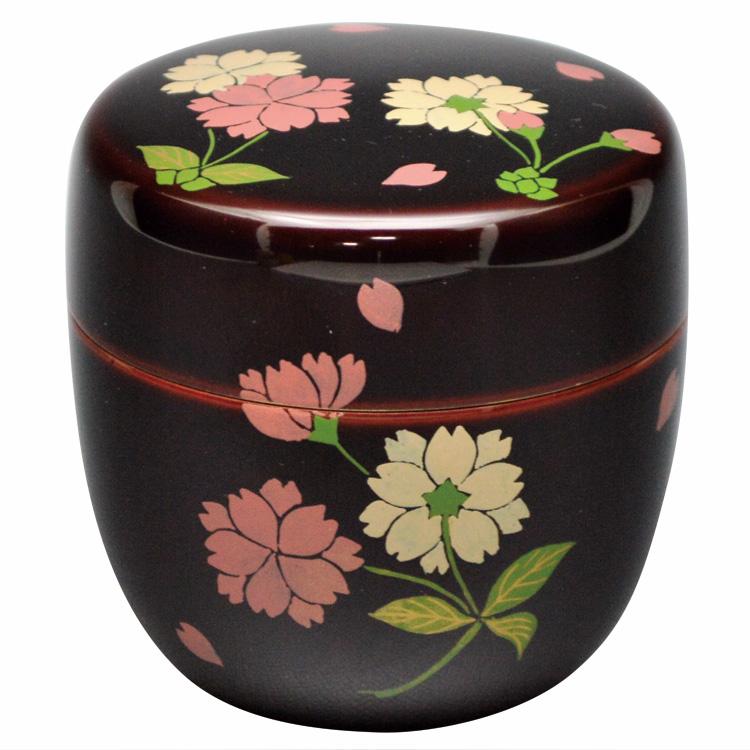 茶道具 棗(なつめ) 中棗 桜花 蓋裏花弁絵 木質