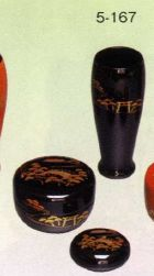 茶道具 三点セット 黒塗 住吉(木製)