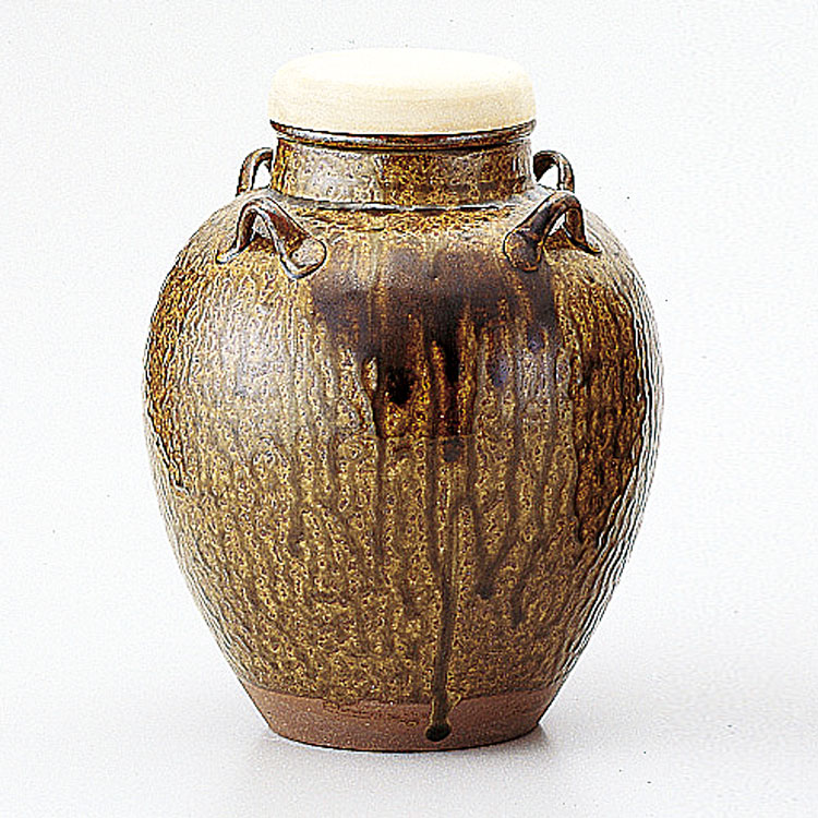 茶道具 飾壺 丹波焼 伊羅保正絹網・正絹紐・正絹覆い付信水窯