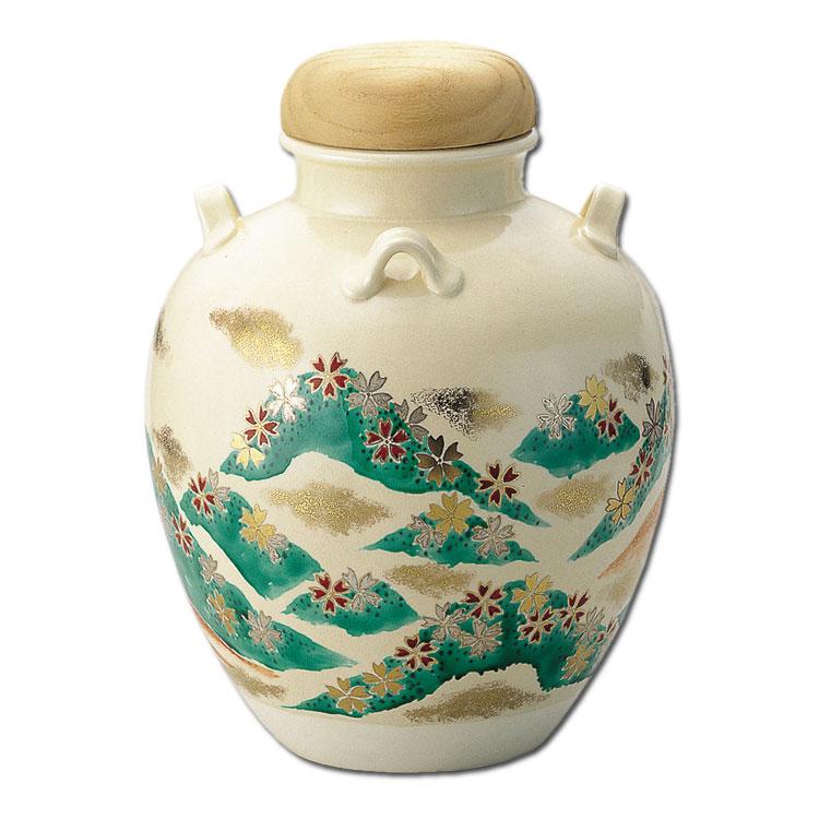 茶道具 飾壺 仁清写 吉野山 (網・正絹紐・おおい付) 菁宝 (茶道具 通販 )