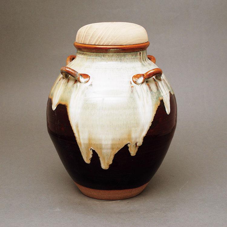 茶道具 飾壺 瀬戸釉正絹網・正絹紐・正絹おおい付西尾香舟