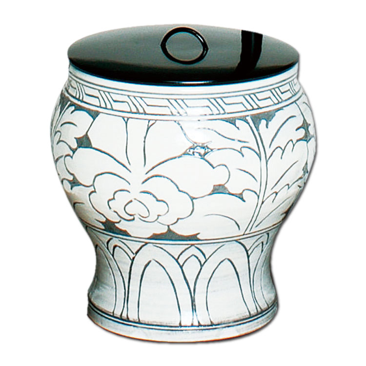 茶道具 水指 掻落 黒石窯