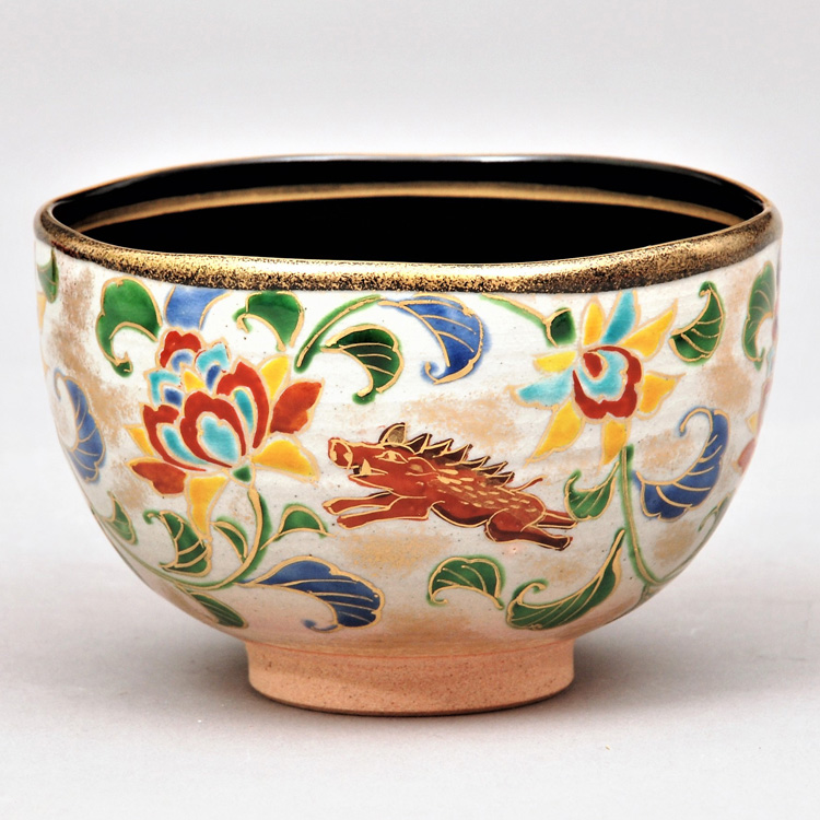 茶道具 抹茶茶碗(まっちゃちゃわん) 茶碗 乾山 内黒 唐華亥 壱休窯