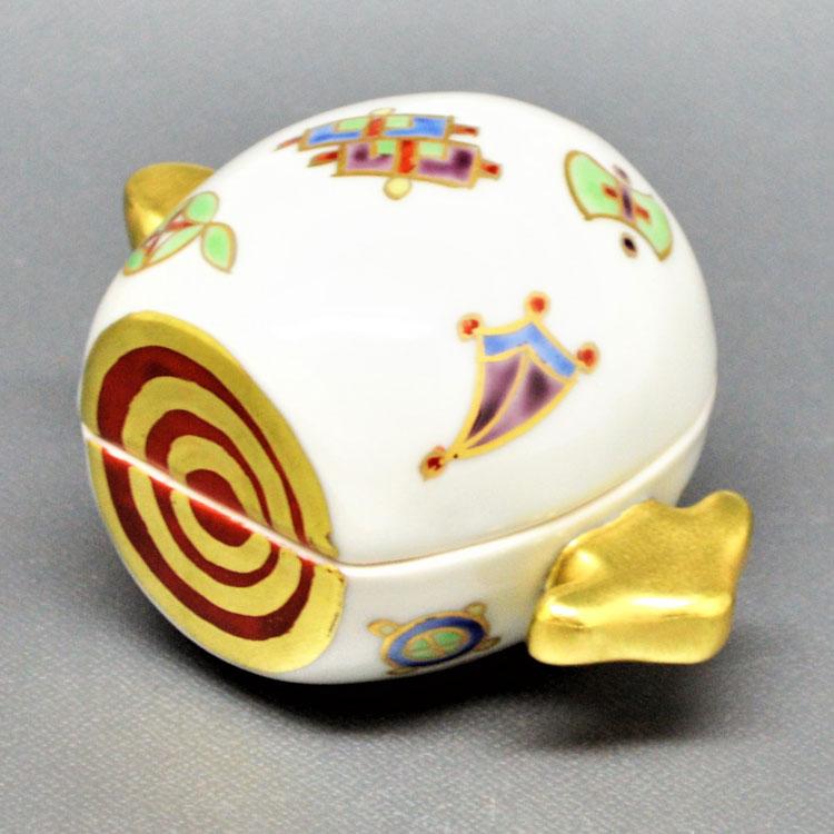茶道具 香合(こうごう) 香合 色絵 小槌 高野 昭阿弥