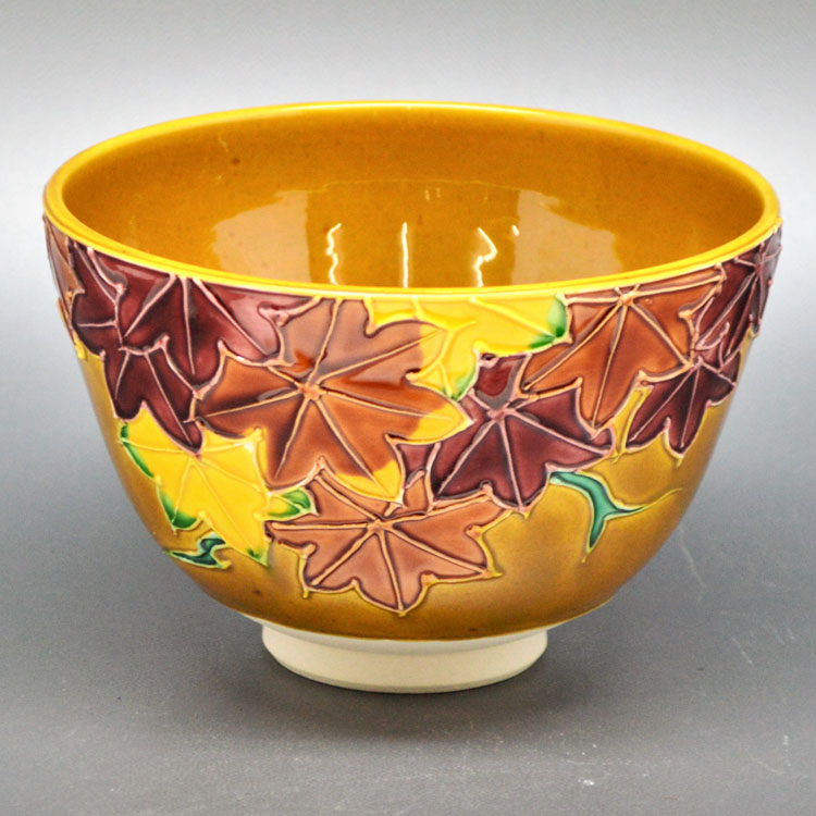 茶道具 抹茶茶碗(まっちゃちゃわん) 茶碗 古代黄交趾 紅葉 谷口 菁嵐