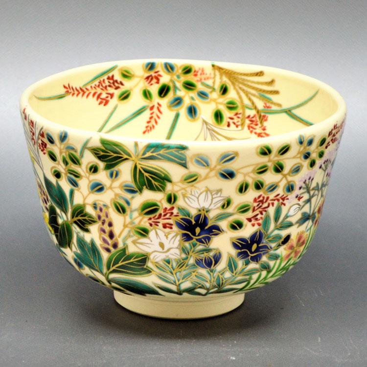 茶道具 抹茶茶碗(まっちゃちゃわん) 茶碗 仁清 秋草 加藤 如水