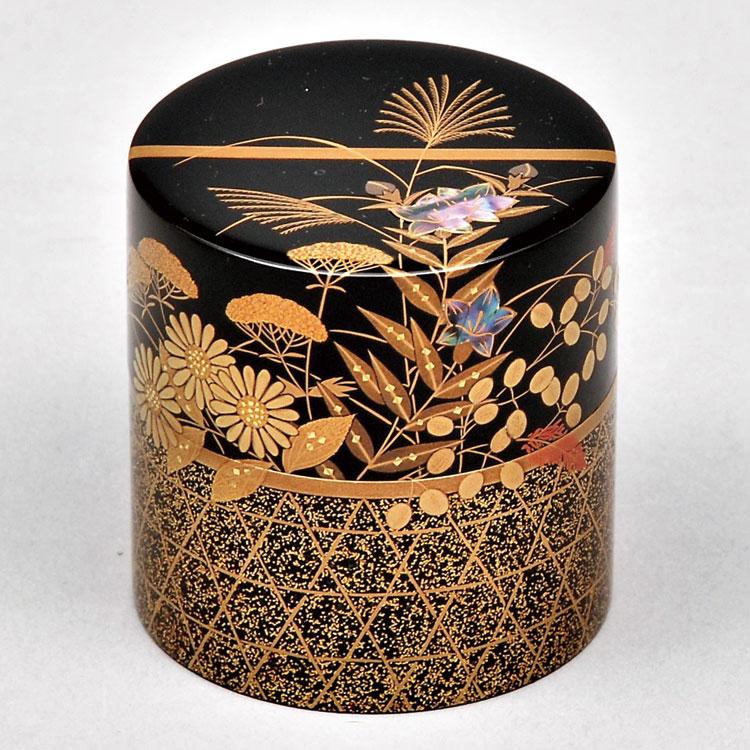 茶道具 茶器(ちゃき) 中次茶器 間垣に秋草蒔絵 角藤 弘悦