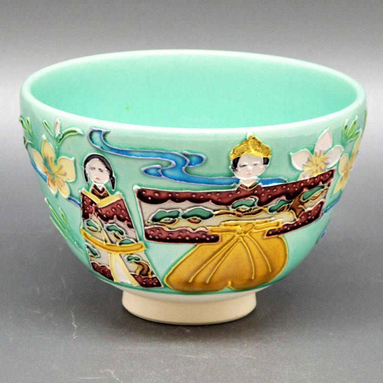 茶道具 抹茶茶碗(まっちゃちゃわん) 茶碗 淡青交趾 立雛 谷口 菁嵐