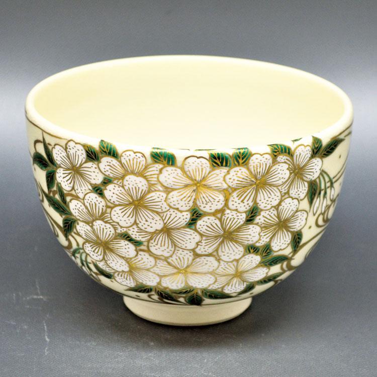 茶道具 抹茶茶碗(まっちゃちゃわん) 茶碗 色絵 桜華流水 清閑寺窯