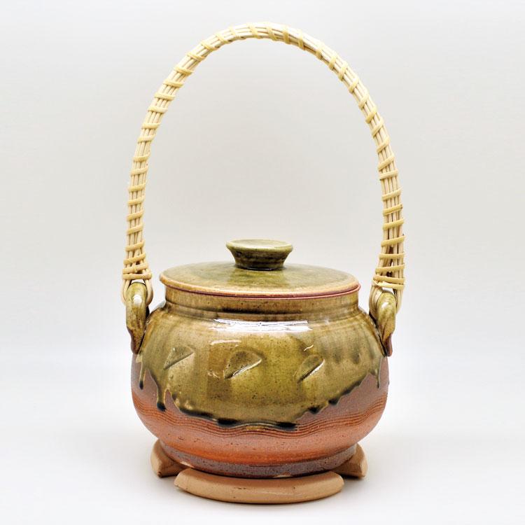 茶道具 炭道具 火消壺 信楽 平型 (耐熱瓦付き)