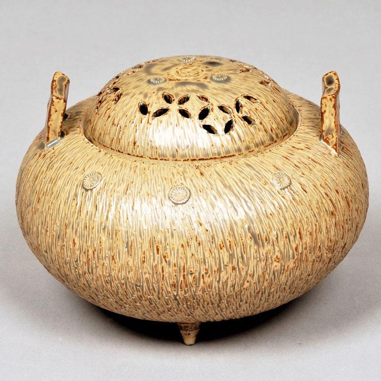 茶道具 香炉(こうろ) 香炉 高取焼 七宝透 亀井 味楽