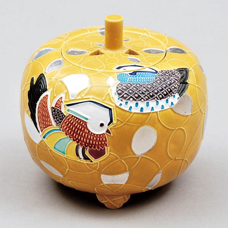 茶道具 香炉(こうろ) 香炉 古代黄交趾 鴛鴦絵 中村 翠嵐