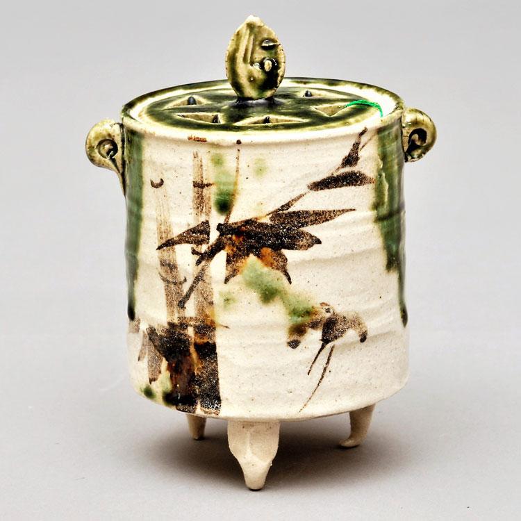 茶道具 香炉(こうろ) 香炉 織部焼 竹画 瀧川 恵美子