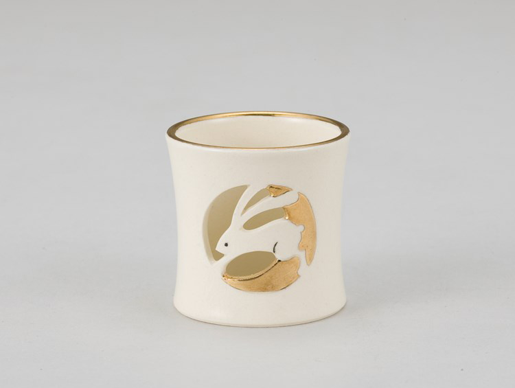 茶道具 色絵 月兎透し蓋置