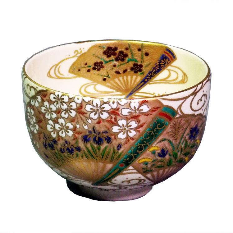 茶道具 抹茶茶碗(まっちゃちゃわん) 色絵扇面草花流水 茶碗 杉田祥平