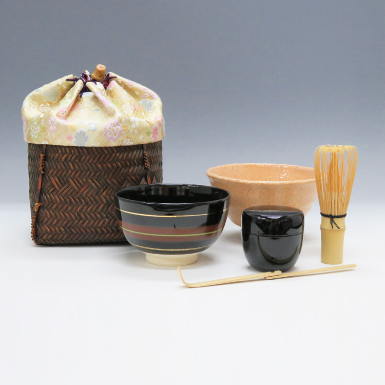 茶道具 野点籠セット「和風」※写真にはございませんが、茶巾も付いております。(茶道具 お手前セット 通販 )