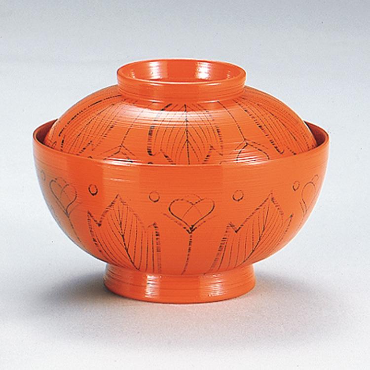 茶道具 懐石道具 煮物椀 朱刷毛目 吉野絵(木乾)五客一組直径約14cm×高さ約7.2cm
