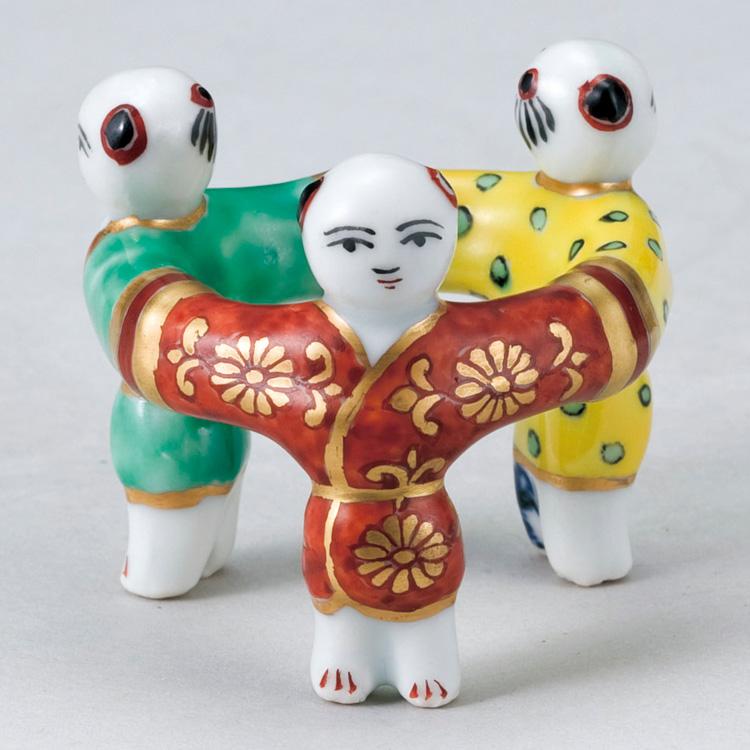 茶道具 蓋置 色絵 三ツ人形蓋置 高野昭阿弥 (茶道具 通販 )