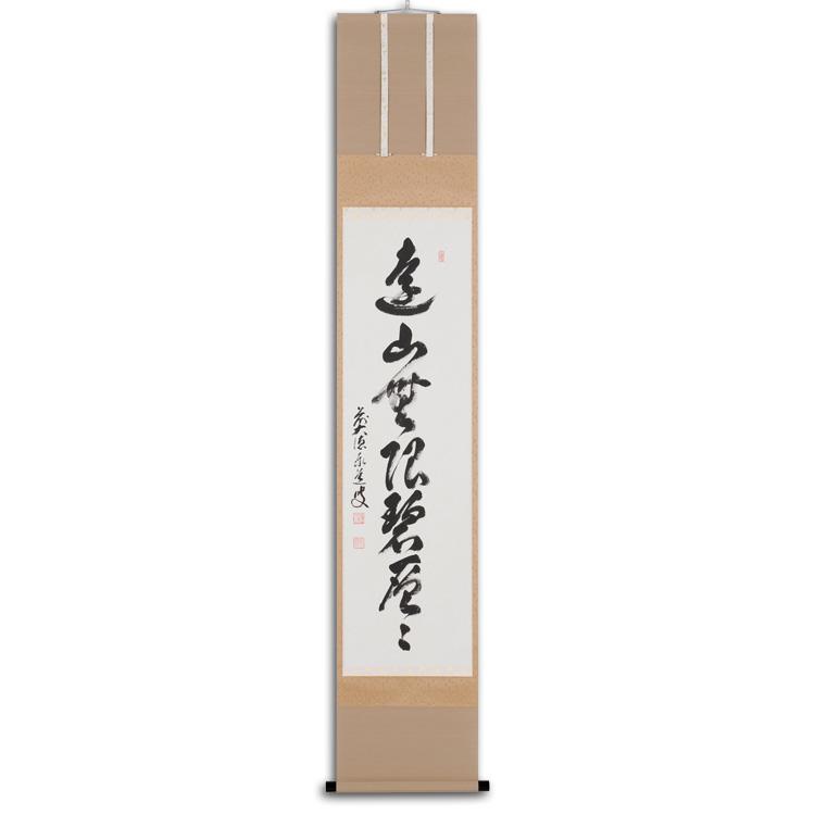 茶道具 竪幅「遠山無限碧層々」 前大徳 足立泰道和尚筆 (茶道具 通販 )