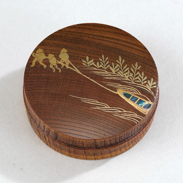 茶道具 欅 摺漆香合 曳舟蒔絵 筑城筑良 (茶道具 通販 )