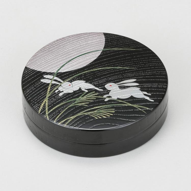 茶道具 柿合塗香合 月二兎蒔絵 林 秀山 (茶道具 通販 )