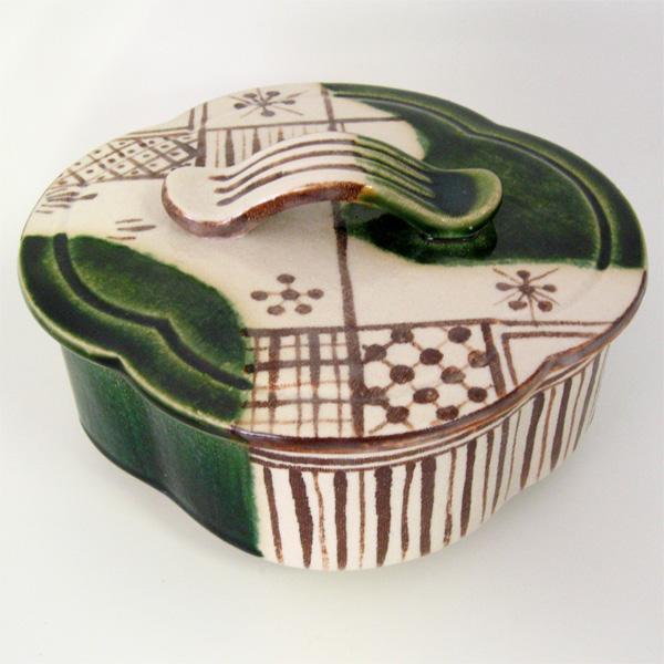 茶道具 食籠 織部木瓜食籠 大 加藤景陶