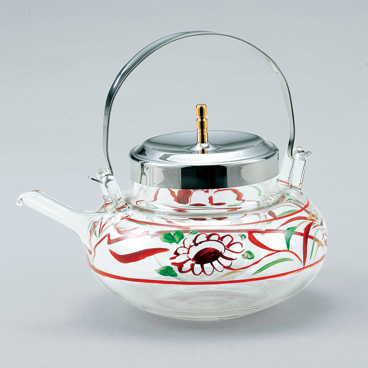茶道具 丸ちろり 赤絵[冷酒用] 2合入●氷入れが別になっているので、お酒を薄めず保冷できます。 (茶道具 通販 )