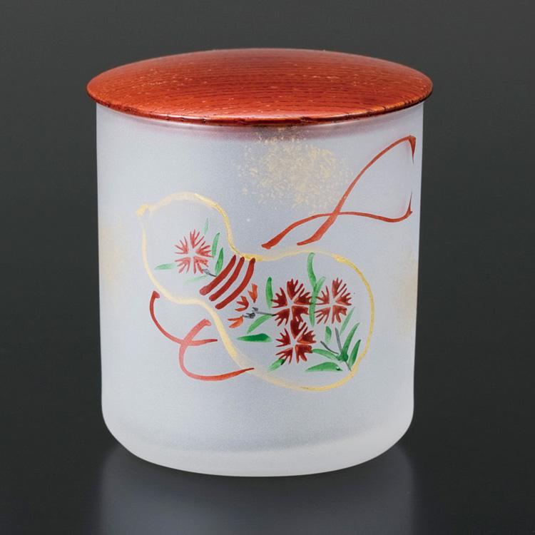 茶道具 茶碗 硝子茶器 瓢箪絵 柿合蓋 芦田 涼