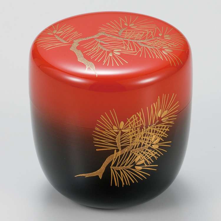 茶道具 棗(なつめ) 日の出塗若松蒔絵中棗 中谷 博峰