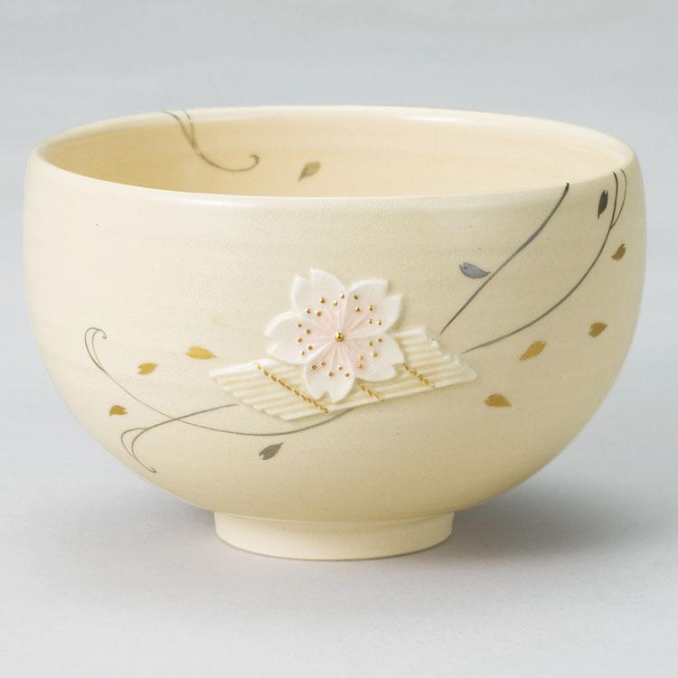 茶道具 抹茶茶碗(まっちゃちゃわん) 浮彫 花筏茶碗 今岡 三四郎