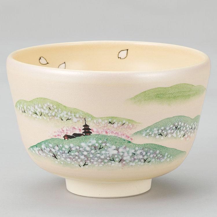 茶道具 抹茶茶碗(まっちゃちゃわん) 白釉 桜の吉野山茶碗 八木 海峰