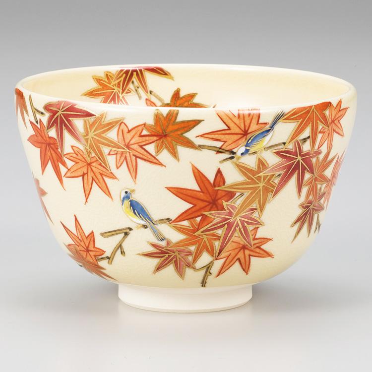 茶道具 抹茶茶碗(まっちゃちゃわん) 黄仁清 紅葉ニ小鳥茶碗 小手鞠窯