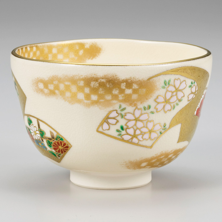 茶道具 抹茶茶碗(まっちゃちゃわん) 色絵 扇面四季草花茶碗 山岡 善昇