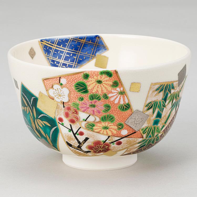 茶道具 抹茶茶碗(まっちゃちゃわん) 色絵 色紙重四君子茶碗 小手鞠窯