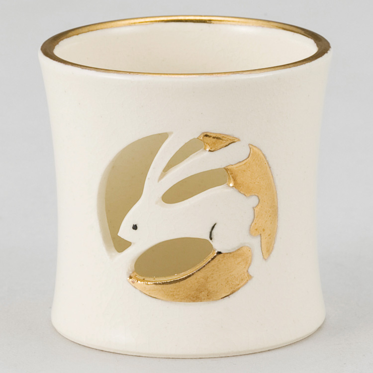 茶道具 蓋置(ふたおき) 色絵 月兎透し蓋置 今岡 三四郎