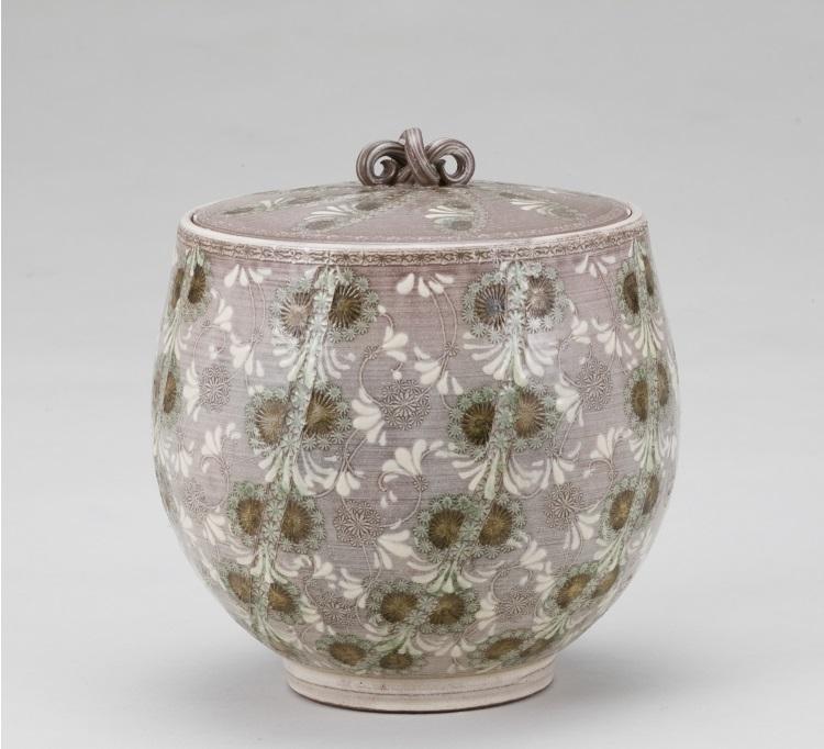 茶道具 紫翠華紋水指 森里陶楽 水指