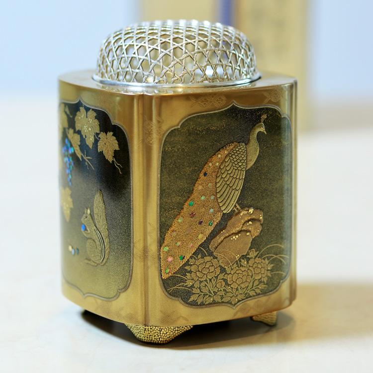 茶道具 香炉鳥獣花図蒔絵香炉Ken MAKIE Studio「彩輝光」