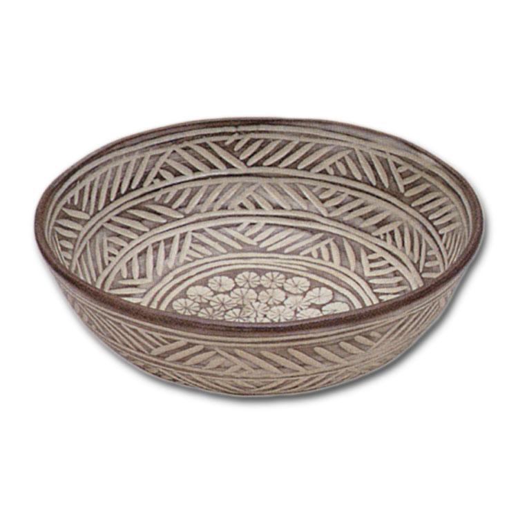 茶道具 彫三島 菓子鉢 白井直樹