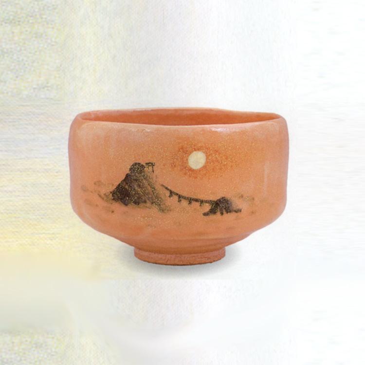 茶道具 抹茶茶碗(まっちゃちゃわん) うす赤 曙の光(二見ヶ浦) 茶碗 佐々木 松楽