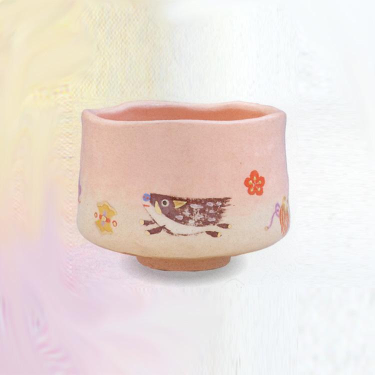 茶道具 抹茶茶碗(まっちゃちゃわん) 松竹梅 宝尽に猪 茶碗 楽入窯