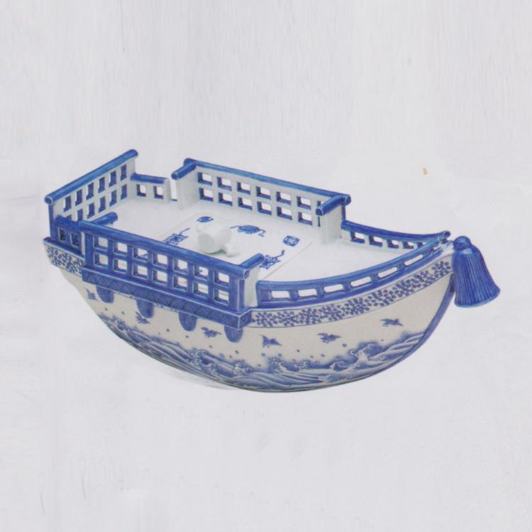 茶道具 水指(水差・みずさし) 平戸白磁 染付 宝船 水指 横山 嘉助