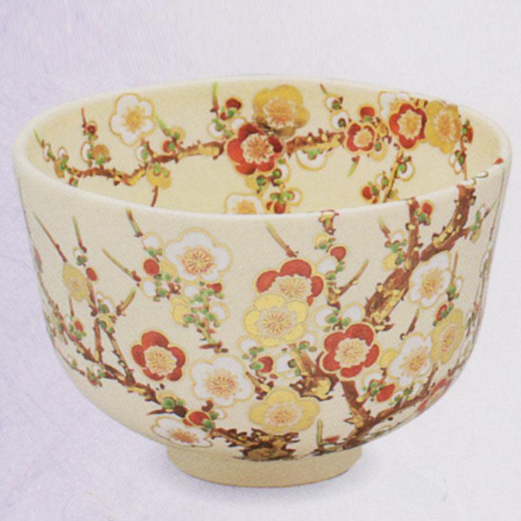 茶道具 抹茶茶碗(まっちゃちゃわん) 色絵 梅ノ絵 茶碗 田中 方円作