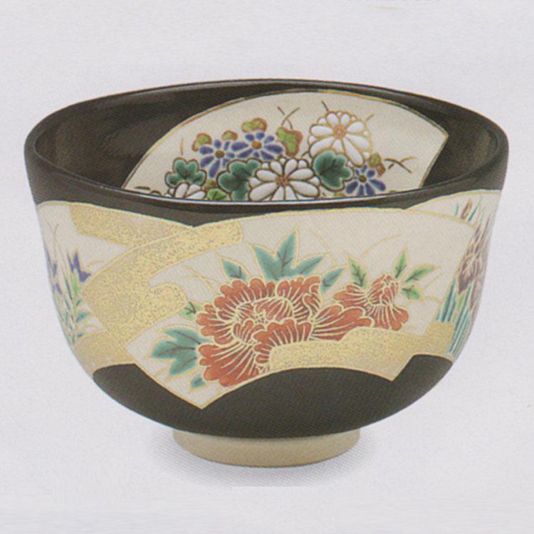 茶道具 抹茶茶碗(まっちゃちゃわん) 黒釉 地紙 四季草花 茶碗 田中 方円作