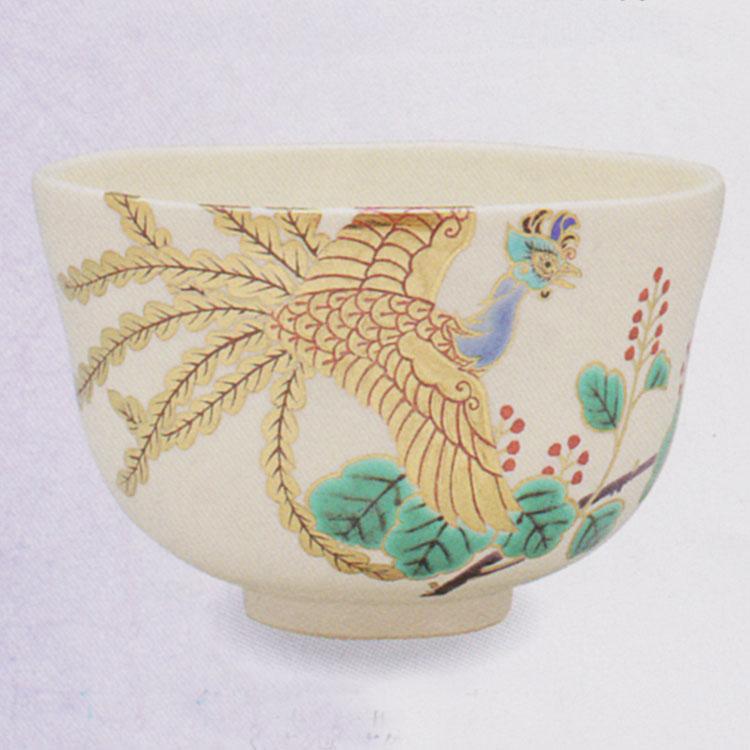 茶道具 抹茶茶碗(まっちゃちゃわん) 色絵 鳳凰二桐 茶碗 田中 方円作
