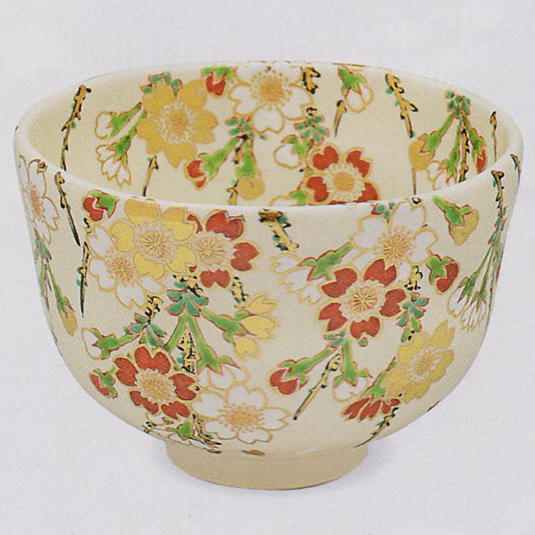 茶道具 抹茶茶碗(まっちゃちゃわん) 色絵 枝垂桜 茶碗 田中 方円作