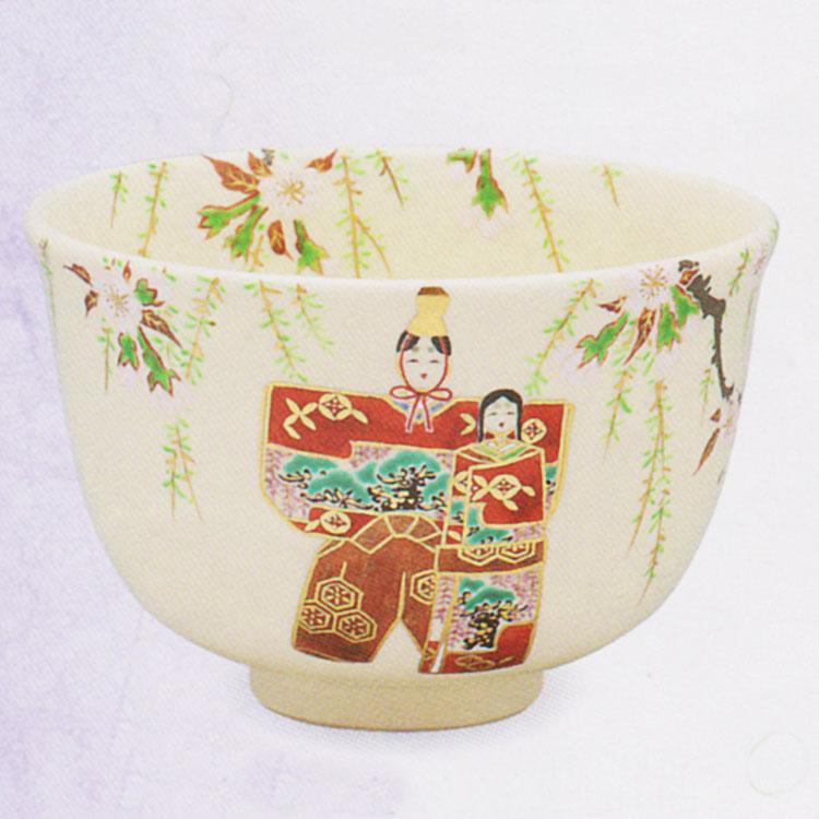 茶道具 抹茶茶碗(まっちゃちゃわん) 色絵 立雛 茶碗 田中 方円作