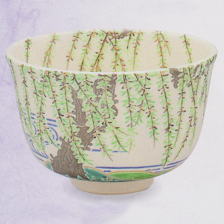 茶道具 抹茶茶碗(まっちゃちゃわん) 色絵 柳二水 茶碗 田中 方円作